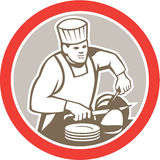 Chef Cook Slicing Meat Circle Retro Royalty Free Stock Photography