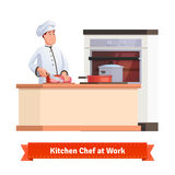 Chef cook slicing meat with a knife at the table. Chef cook slicing meat with a knife at the kitchen table with some pot and pan. Flat style illustration or icon Stock Photos