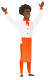 Chef cook standing with raised arms up. Young african-american chief-cooker standing with raised arms up. Full length of chief-cooker in uniform celebrating Stock Photo