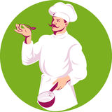Chef cook tasting dish vector illustration