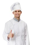 Chef cook thumbs up. Chef cook in uniform thumbs up, isolated on white Royalty Free Stock Image