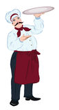 Chef cook with a tray Royalty Free Stock Photos