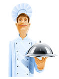 Chef cook with tray and lid Stock Images