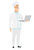 Chef cook using laptop vector illustration. Royalty Free Stock Image