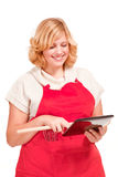 Chef cook using a tablet computer Stock Photo