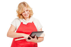 Chef cook using a tablet computer Royalty Free Stock Image