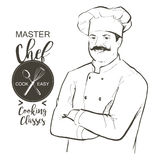 Chef cook vector line sketch hand-drawn illustration. Portrait of restaurant`s smiling chef in working uniform. A man in a chef cap with a mustache standing with Royalty Free Stock Photos