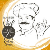 Chef cook vector line sketch hand-drawn illustration. Portrait of restaurant`s smiling chef in working uniform. A man in a chef cap with a mustache. Vector line Stock Image