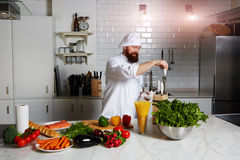 Chef cook vegetable stew in the kitchen of the expensive restaurants  expensive Stock Photos