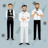 Chef cook, waitress in uniform and barman standing together on a tableware background. Restaurant people characters. Royalty Free Stock Image