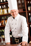 Chef cook wine bar standing confident restaurant Stock Photos
