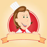 CHef Cook Woman Banner. Illustration of a cartoon happy chef cook woman banner royalty free illustration