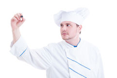 Chef or cook writing with pen on transparent screen Royalty Free Stock Image