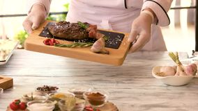 Chef and cooked food. stock footage