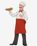 Chef with cooked grill steak. Smiling chef with cooked grill steak and lettuce Royalty Free Stock Photography