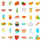 Chef cooker icons set, cartoon style. Chef cooker icons set. Cartoon style of 36 chef cooker vector icons for web isolated on white background Royalty Free Stock Photo