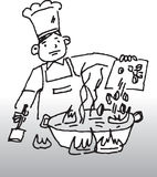 Chef cooking. Vector image of a chef cooking vector illustration