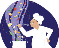 Chef cooking. Chef enjoys of great soup Stock Illustration