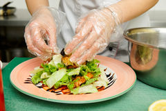 Chef is cooking appetizer Royalty Free Stock Images