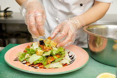 Chef is cooking appetizer Stock Photos