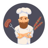 Chef cooking BBQ Royalty Free Stock Image