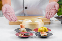 Chef cooking chinese food Stock Photo