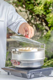 Chef cooking chinese food. In the restaurant Royalty Free Stock Photography