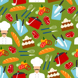 Chef cooking dinner seamless pattern Stock Photos