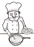 Chef Cooking Food. Hand drawn illustration of a genuine chef Stock Photography