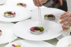 Chef cooking food with Caviar and shrimp for dinner. Chef cooking food with Caviar and shrimp for dinner party in the restaurant kitchen Stock Photo