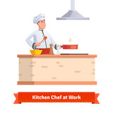 Chef cooking food. Frying in the pan at the kitchen table holding wooden spatula. Flat style illustration or icon. EPS 10 vector Stock Image