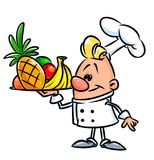 Chef cooking fruit cartoon illustration Stock Images