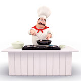 Chef is cooking happily Stock Photo