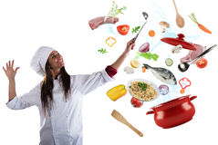 Chef cooking with harmony. Woman chef cooking with harmony food in a big pot stock photos