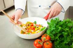 Chef cooking in his kitchen Royalty Free Stock Images