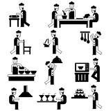 Chef and cooking icons. Collection of silhouette chef and cooking icons on white background Stock Images