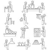 Chef cooking icons. Outline design of chef cooking icons on white Stock Image