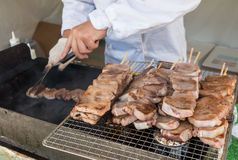 Chef is cooking Japanese grilled beef pork tongue Royalty Free Stock Photography