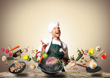 Chef is cooking Stock Image