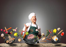 Chef is cooking Royalty Free Stock Photos
