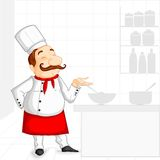 Chef cooking in Kitchen. Vector illustration of chef cooking in kitchen Stock Photos