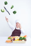 Chef cooking with magic concept Stock Photos