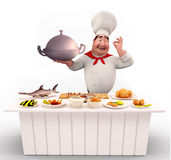 Chef cooking nonveg on the table Stock Image