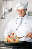 Chef Cooking Pasta Royalty Free Stock Images