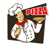 Chef Cooking Pizza Royalty Free Stock Photography