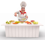 Chef cooking rice with lots of vegetable on table Royalty Free Stock Photos