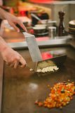 Chef cooking rice with vegetables and shrimp Royalty Free Stock Photography