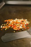Chef cooking rice with vegetables and shrimp Royalty Free Stock Photos