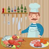 Chef cooking seafood on th kitchen vector illustration, cartoon style design element for poster or banner. Chef cooking seafood on th kitchen vector illustration Royalty Free Stock Photos