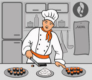 Chef is cooking sushi Royalty Free Stock Photo